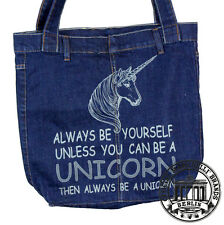 S24. UNICORN EINHORN Jeans Denim Shopping Bag Marionelli  Stofftasche