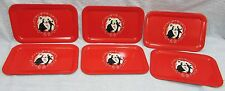 Set 6 Red 9x14 Metal Serving Trays Black Silhouette Couple Man Woman FREE S/H