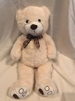 Goffa White brown soft Teddy Bear 28 inch plush stuffed animal ribbon bow tie
