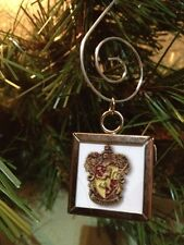 """Harry Potter Gryffindor crest double sided Square Silver 1"""" Ornament"""
