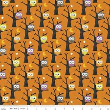 By 1/2 Yard - Riley Blake Fabric Ghouls & Goodies Owl in Orange - Halloween Owls