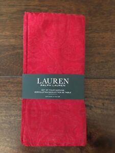 "RALPH LAUREN Paisley Jacquard Set/4 RED Dinner Napkins 20"" x 20"" ELEGANT NWT"