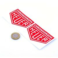 Heuer Chronograph Red Stickers Classic Racing Vinyl Decals 75mm x2 F1 Rally