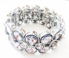USA Bracelet Rhinestone Crystal Adjustable Bangle Clear Silver Party Fashion