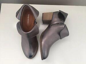 Django Juliette Leather Ankle Boots Santo Pewter Metallic Sz 38 RRP $189.95 #75