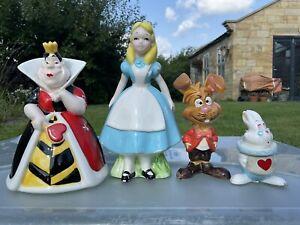 Alice In Wonderland, White Rabbit, Hare, Queen Of Hearts Disney Potery Figurines