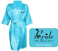Personalised  Wedding Bridal Robe Gown in TURQUOISE satin Bride Mum / Gift Bag