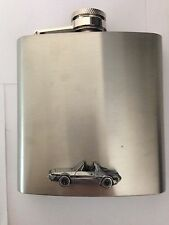 Fiat X19 1500 ref63 pewter effect car on a 6oz Stainless Steel Hip Flask