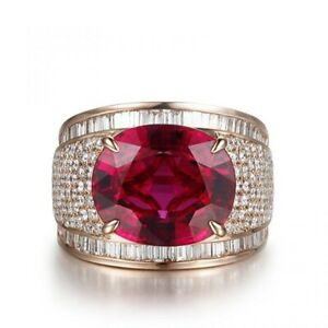 Men's Ring Ruby Cushion Round Baguette Rose Gold Plated 925 Sterling Silver CZ
