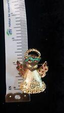 Vintage Mylu Rhinestone Christmas Angel Signed Pin Free Shipping