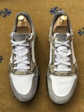 Gucci Mens Trainers Grey White Snakeskin Suede Fabric Shoes UK 9.5 US 10.5 43.5
