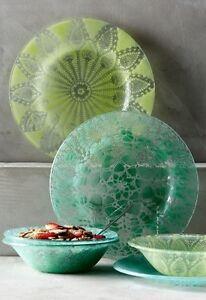 Anthropologie Green Frosted Doily Dessert Bowl Dish Kicking Glass Sheree Blum