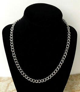 9mm x 7mm x 1.7mm Silver Color Shiny Stainless Steel Curb Chain Necklace Jewelry
