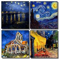 Mond-Grafik Kunstdruck Leinwand STERNENNACHT Hommage Van Gogh Bilder Wandbild