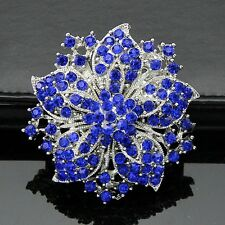 "2."" VINTAGE LOOK STAR FLOWER ROYAL BLUE DIAMANTE RHINESTONE CRYSTAL BROOCH PIN"