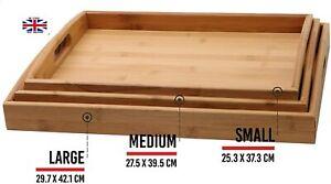 3Pcs WoodenBamboo Serving Tray W/Handles Rectangle Breakfast Tray-Best Xmas Gift