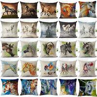 ALS_ Watercolor Horse Pillow Cases Cotton Linen Sofa Cushion Cover Home Decor No