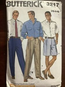 New Vintage BUTTERICK Men's Shirt Shorts Pants Pattern 3217  Size XS- Med 32-40