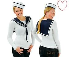 Ladies Sailor Girl Hat Scarf Set Girls Doughboy Instant Costume Fancy Dress