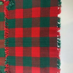 Christmas placemats set of 4 plaid green red checkered tassel fringe holiday