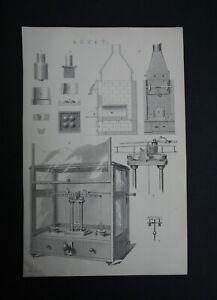 Original print showing assay equipment the London Mackenzie Encyclopedia c1880