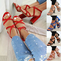 New Womens High Block Heel Sandals Zip Ankle Cross Strap Summer Shoes Sizes 3-8