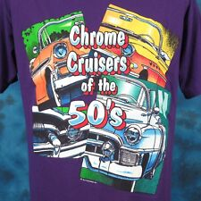 vintage 90s CHROME CRUISERS 50s CARTOON PAPER THIN T-Shirt L muscle car hot rod