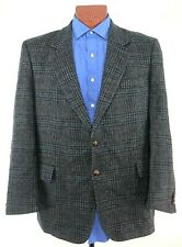 BOSTON TRADERS Mens 44R Gray Check TWEED 2 Button Sports Coat Jacket Wool Vented