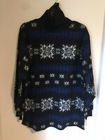 FORENZA Womens S Blk  Fleece Turtleneck Mock Sweater Snowflake Oversized Tunic❄️