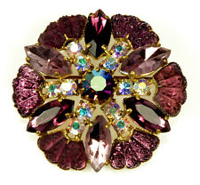 VTG 50'S SCHIAPARELLI PURPLE PATE DE VERRE GLASS BROOCH PIN