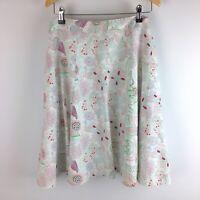 Mantaray White Floral Print Linen Blend Skirt Size UK 20 Red Blue Green Lined