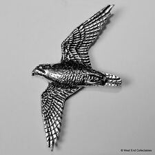 Peregrine Falcon Pewter Brooch Pin- British Artisan Signed Badge Falconry Bird