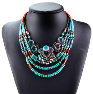 Necklace Vintage Chain Pendant Jewellery Bead Style Pearl Crystal Blue Fashion