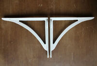 "Pair of White 8"" CAST IRON VICTORIAN IRONBRIDGE SHELF CISTERN BRACKETS - BR11wx2"