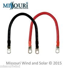 Pair #4 Battery Cables 1 Foot Red & 1 Foot Black - Batteries, Solar, Wind, Boats