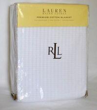 New Ralph Lauren Premium Cotton ONE Full / Queen Bed Blanket Texture Wave White