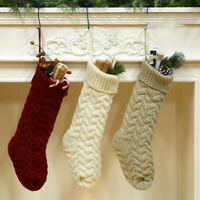 18 Large Size Cable Knit Knitted Christmas Xmas Stockings Stocking Decorations