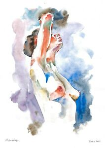 original painting A3 505DO art samovar Watercolor Expressionism female nude