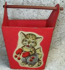 Vintage Heavy Paper Easter Basket w/ Wooden Handle - Kitty, Bear, Dog & Bunny