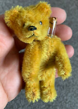 "EARLY RARE ANTIQUE MINIATURE 3"" GOLD MOHAIR SCHUCO PERFUME BEAR Cute!"