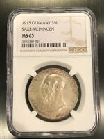 1915  GERMANY 3M SAXE-MEININGEN - NGC - MS 65