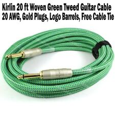 Kirlin 20 ft Woven Guitar Instrument Cable Green Tweed Cord +Free Tie 20AWG NEW