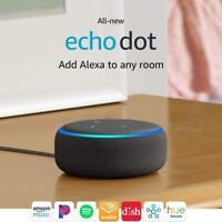 Amazon Echo Dot 3rd Gen Latest 2018 Charcoal Black with Alexa NEW SEALED