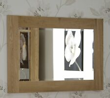 Nero solid oak furniture small bevelled glass wall mirror