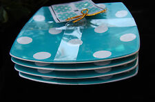 222 Fifth Square Oceana CADIZ Square Plate Turquoise Polk Appetizer Bread Plate