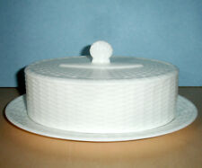 Wedgwood Nantucket Basket Oval Covered Butter Dish White Embossed 2 PC New
