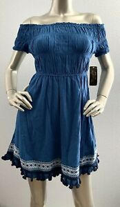 Wrangler Retro Nwt Off Shoulder Blue Smocked Western Dress LWK512M