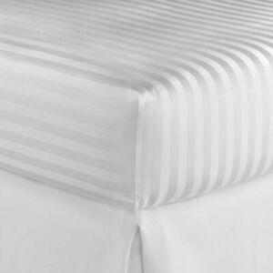 Luxury Hotel Quality Extra Deep White Satin Stripe Cotton Fitted Sheet 400TC UK