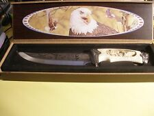 "11""American Bald Eagle Fix Blade Knife W/Carved Hande & Presentation Box!"