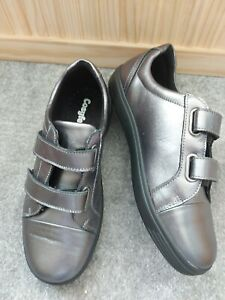 COSYFEET Metallic Grey Real Leather Ladies Comfort Wide Fit Shoes  UK7.5 New